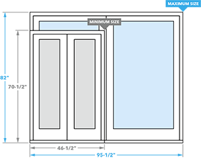 size chart for encompass by pella sliding patio doors